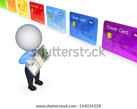 3d person and colorful credit cards.Isolated on white.3d rendered. - stock photo