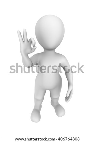 3d person and OK gesture. 3d illustration.
