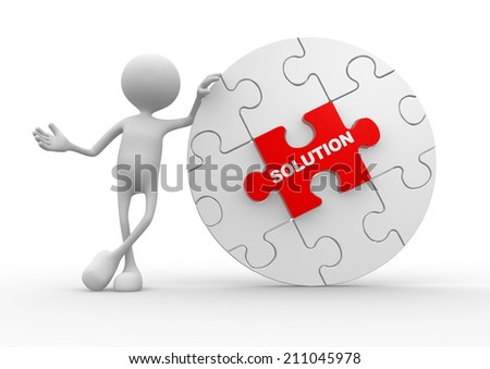 3d person and pieces of puzzle. Solution concept - stock photo