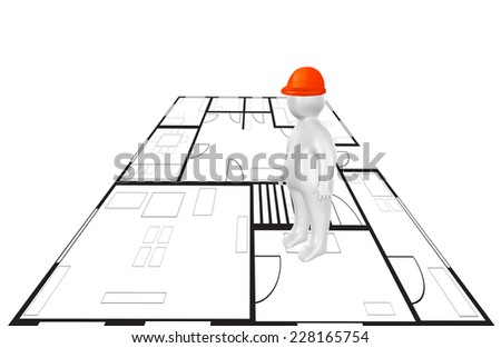 3D person and plan and as civil engineering concept - stock photo