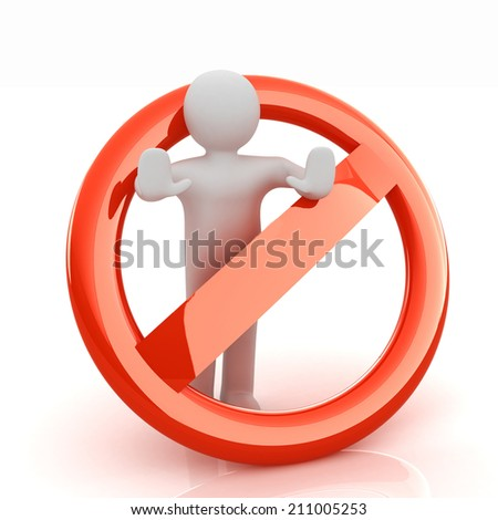 3d person and stop sign