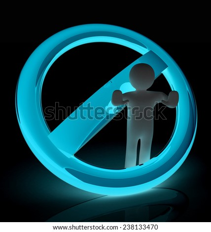 3d person and stop sign  - stock photo
