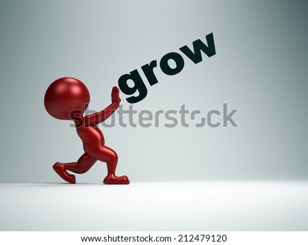 "3d  person and word ""grow"" - stock photo"