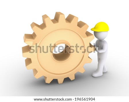 3d person as worker is pushing a big cogwheel - stock photo