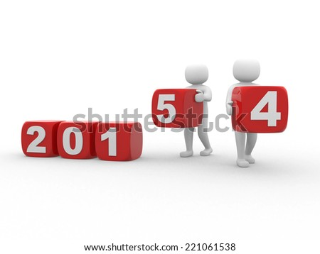 3d person - Beginning new year 2015. 3d render - stock photo