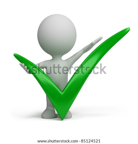 3d person behind a positive symbol. 3d image. Isolated white background. - stock photo
