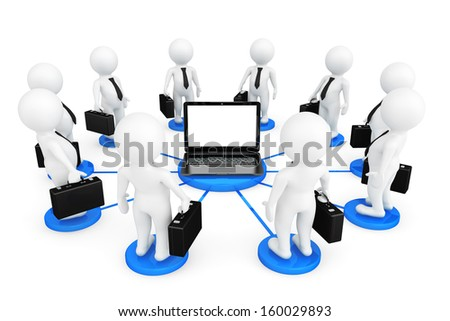 3d person businessmans around Laptop on a white background