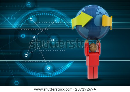 3d person carrying the earth - stock photo