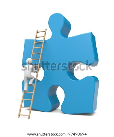 3d person climb to success. Image contain clipping path - stock photo