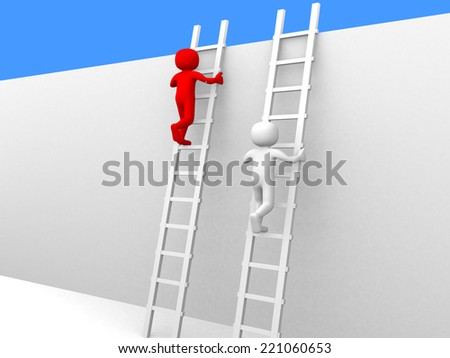 3d person climbing ladders - 3d render illustration