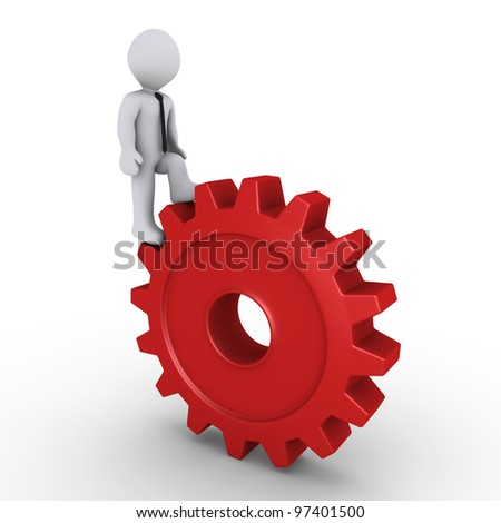 3d person climbing on a red cogwheel