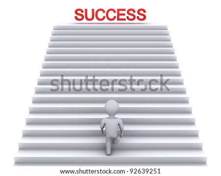 3d person climbing stairs that have the word success on top of them - stock photo
