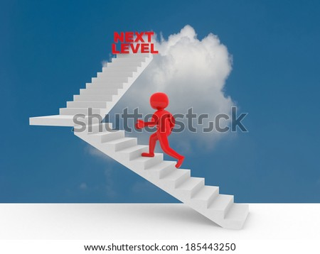 3d person climbs the ladder of next level. 3d render - stock photo