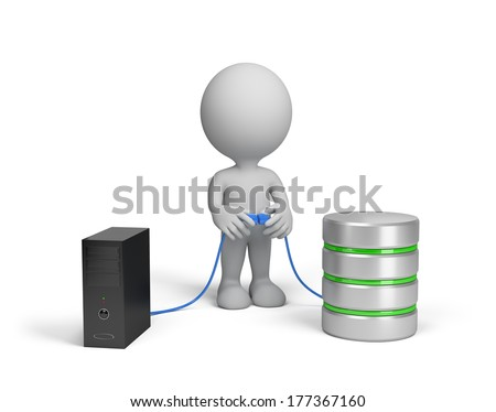3d person connects a computer to the database. 3d image. White background. - stock photo