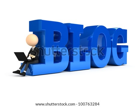 3d person creating blog