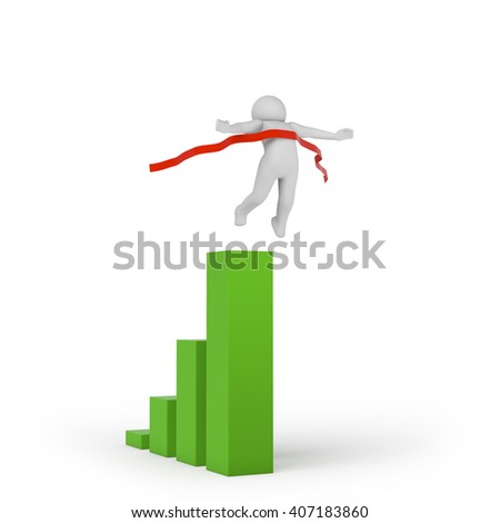 3d person crossing the finishing line. 3D rendering - stock photo