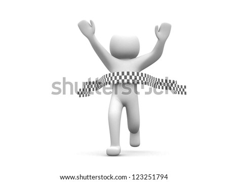 3d person crossing the finishing line - This is a 3d render illustration - stock photo