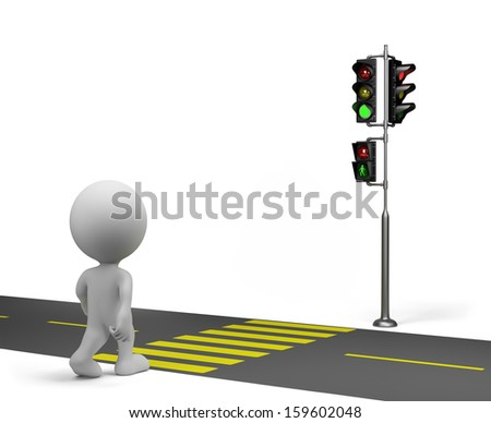 3d person crossing the road on the green traffic light. 3d image. White background. - stock photo