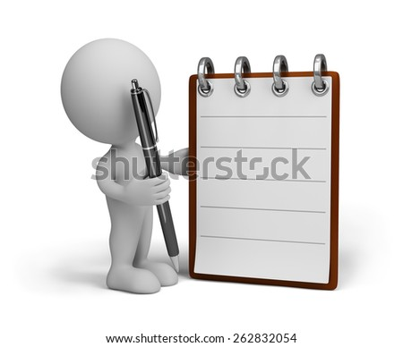 3d person fills diary. 3d image. White background. - stock photo