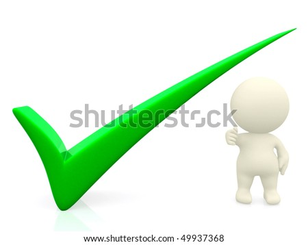 3D person getting it right with a green tick - isolated over a white background - stock photo