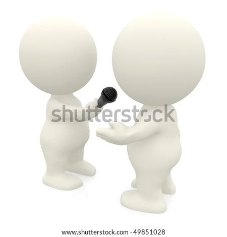 3D person giving an interview isolated over a white background
