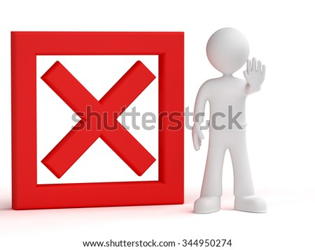3d person giving order to stop isolated white background - stock photo