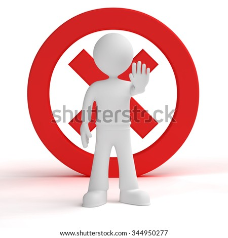 3d person giving order to stop isolated white background