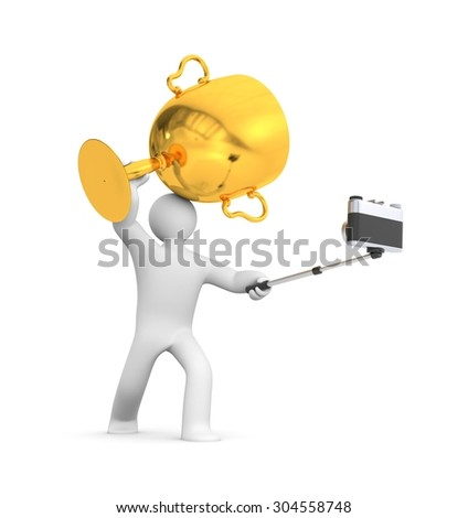 3d person hold gold cup and make selfie - stock photo