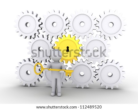 3d person holding a golden key is in front of cogwheels - stock photo