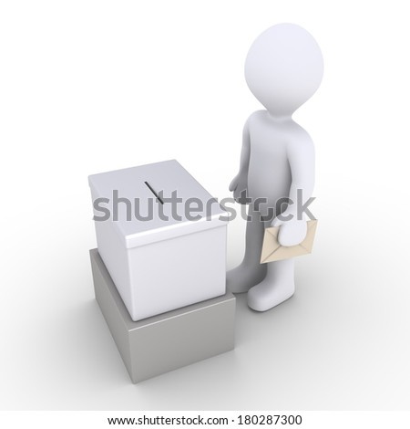 3d person holding an envelope is in front of a ballot box - stock photo