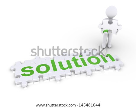 "3d person holding the last piece of ""solution"" puzzle - stock photo"