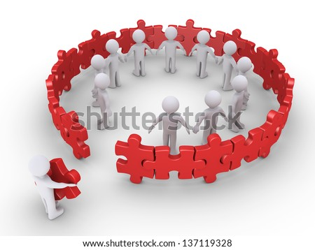3d person holding the last puzzle piece of the community circle - stock photo