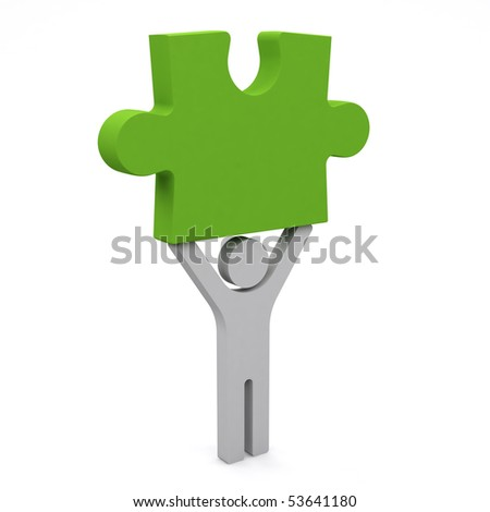 3d person holding the piece of a puzzle. - stock photo