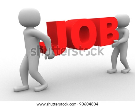 3d person - human character the word job - 3d render - stock photo