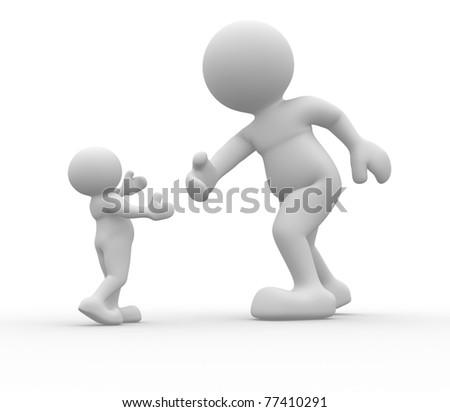 3d person icon help me - This is a 3d render illustration - stock photo