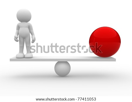 3d person icon with red sphere  in balance- This is a 3d render illustration