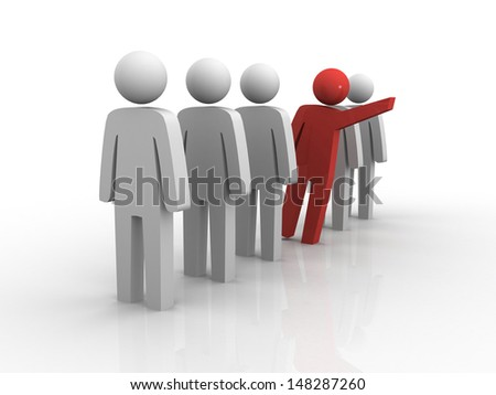 3d person in row. Leadership and team. - stock photo