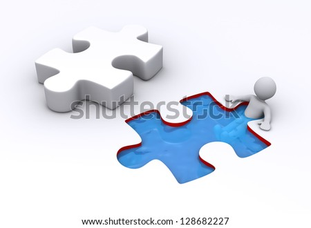 3d person is bathing inside a puzzle shaped pool and a puzzle piece is near