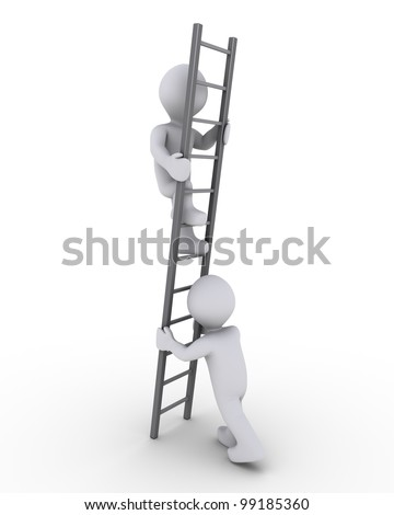 3d person is helping another to climb a grey ladder - stock photo