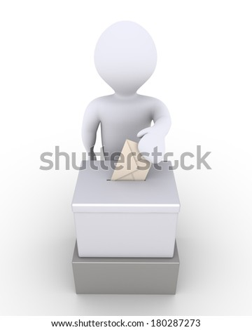 3d person is inserting an envelope to a ballot box