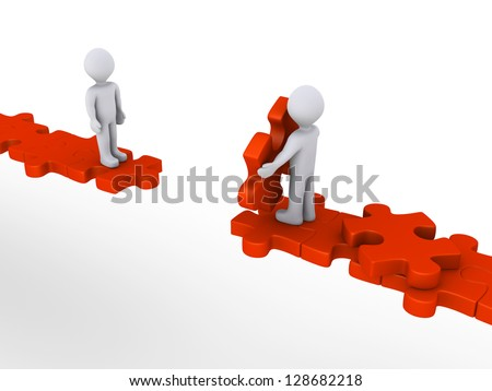 3d person is offering help to another in order to walk on puzzle path - stock photo