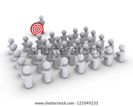 3d person is showing a target to others that are sitting
