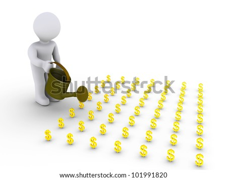 3d person is watering little dollar signs