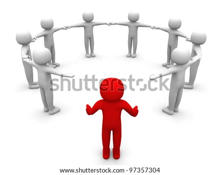3d person joining the team - 3d render illustration - stock photo