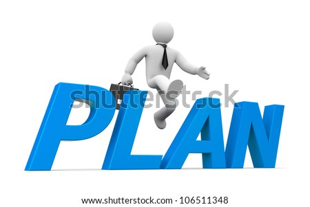 3d person jumps through the word plan - stock photo