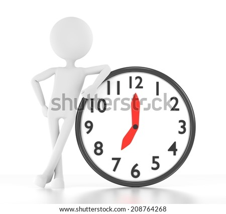 3d person leans on clock that says 07:00