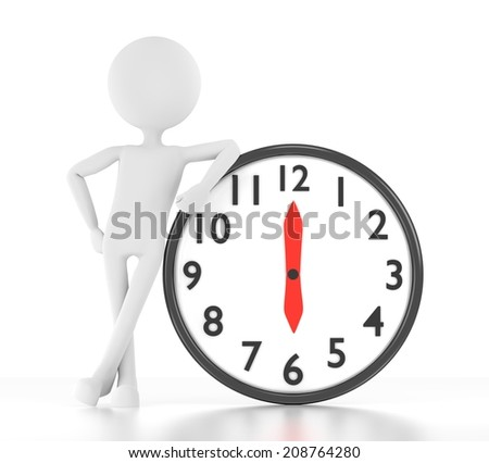 3d person leans on clock that says 06:00