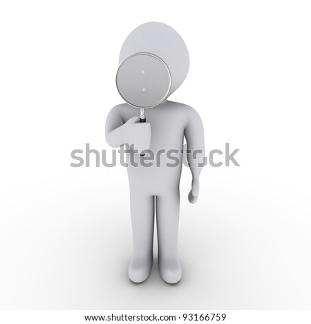 3d person looking through magnifier