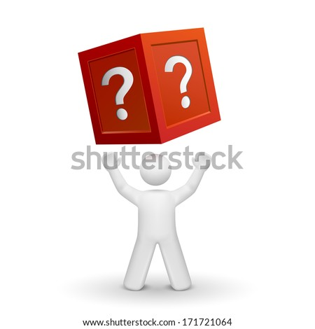 3d person looking up at a box with question mark isolated white background - stock photo