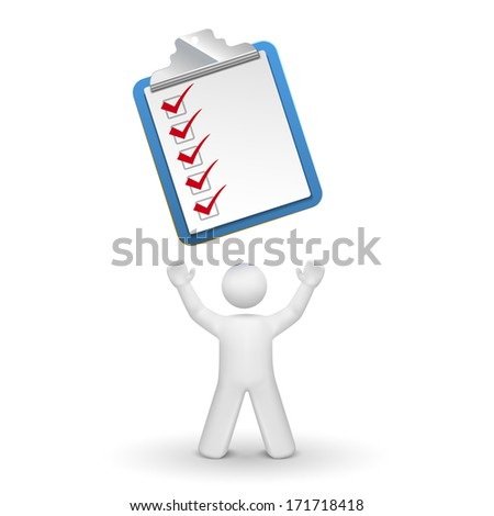 3d person looking up at a clipping note pad and check list isolated white background - stock photo